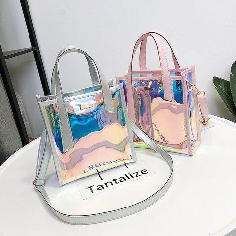 Womens Transparent Casual PU Zipper Tote Bags Crossbody Bags