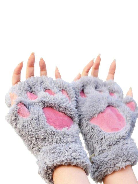 Women Lady Girl Bear Cat Paw Fingerless Gloves Fluffy Plush Paw Glove Winter Warm Mittens