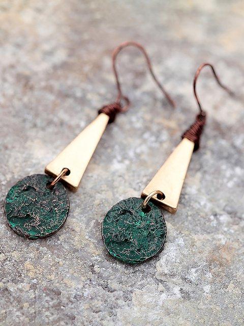 Women Antique Gold Triangle Drop Earrings
