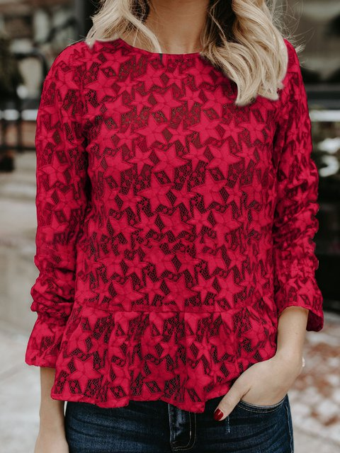Crew Neck Long Sleeve Lace Blouse