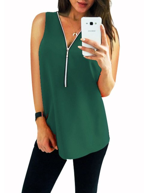 Casual V neck Sleeveless Zipper Tanks