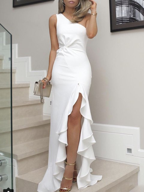One Shoulder  Sheath Women Daily Casual Sleeveless  Solid Prom Dress