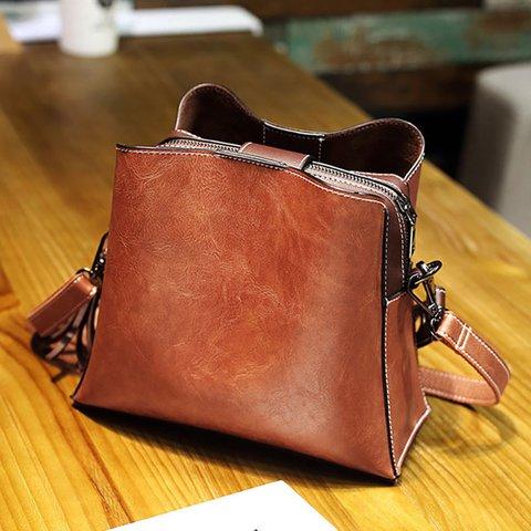 Women Vintage PU Leather Crossbody Bag Shoulder Bags Bucket Bags