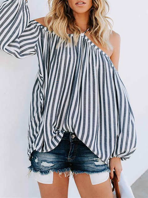 Gray Balloon Sleeve Cold Shoulder Striped Blouse