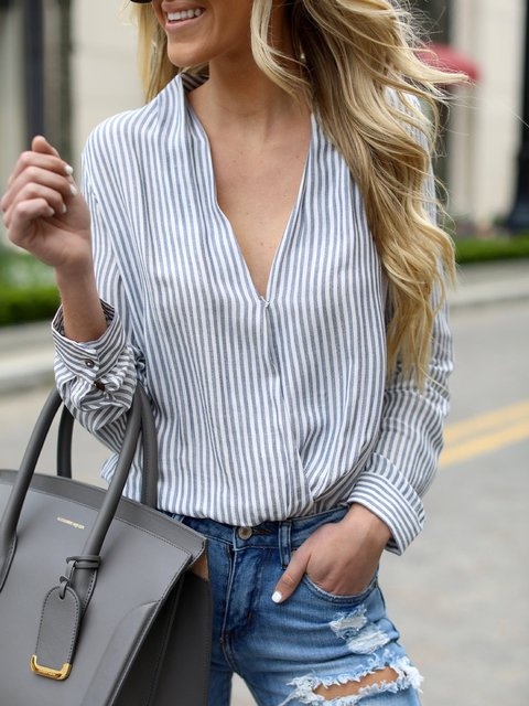 Blue V neck Casual Long Sleeve Striped Blouse