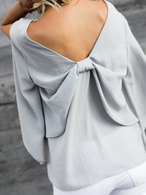 Frill Sleeve V neck Solid Casual Bow Blouse