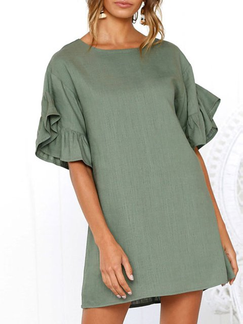 Women Daily Casual Frill Sleeve  Summer Dress