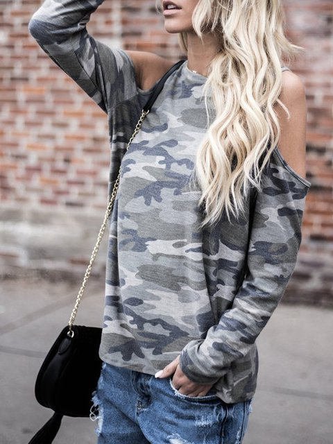 Camouflage Green Cold Shoulder Long Sleeve Cotton T-Shirt