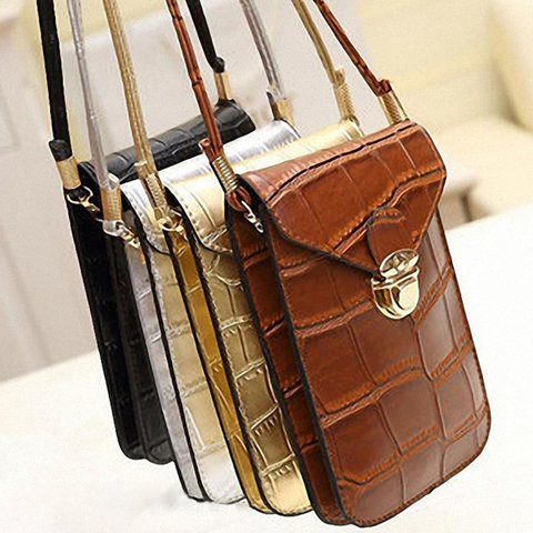 Fashion Women Vintage PU Leather Mobile Phone Crossbody Bags