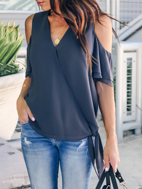 Casual Solid Cold Shoulder Cotton Frill Sleeve Blouses