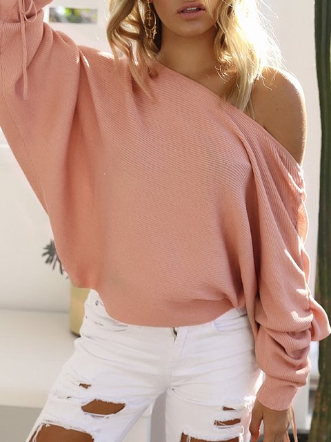 One Shoulder Long Sleeve Solid Knitted Sweater