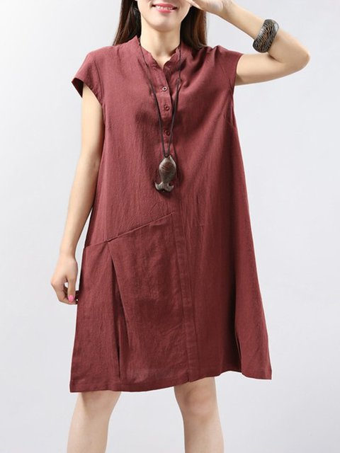 Stand Collar  Women Daily Casual Short Sleeve Paneled Casual Dress