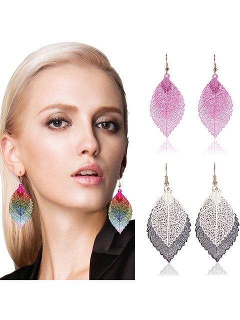 Fashion Double Leaf Pendant Drop Earrings Simple Retro Alloy Leaf Earrings