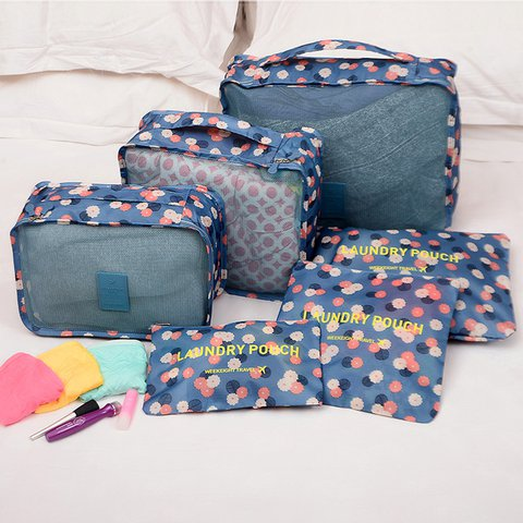 Multi-function 6PCS Casual Zipper Nylon Storage Bags