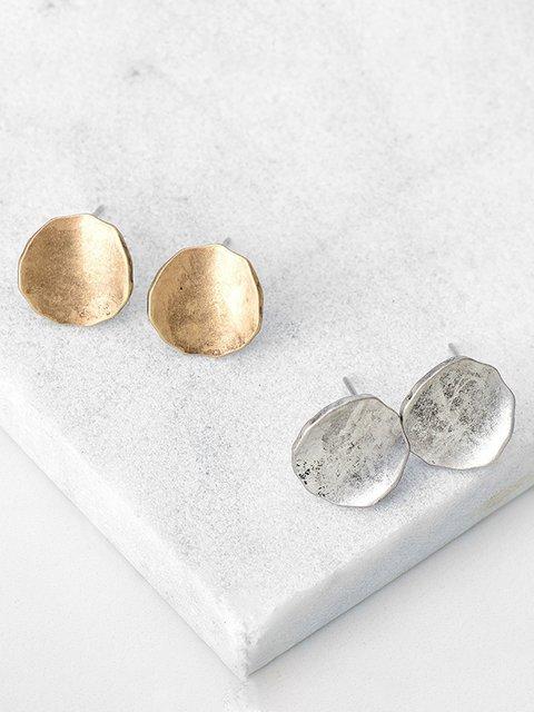Womens Retro Round Alloy Earrings