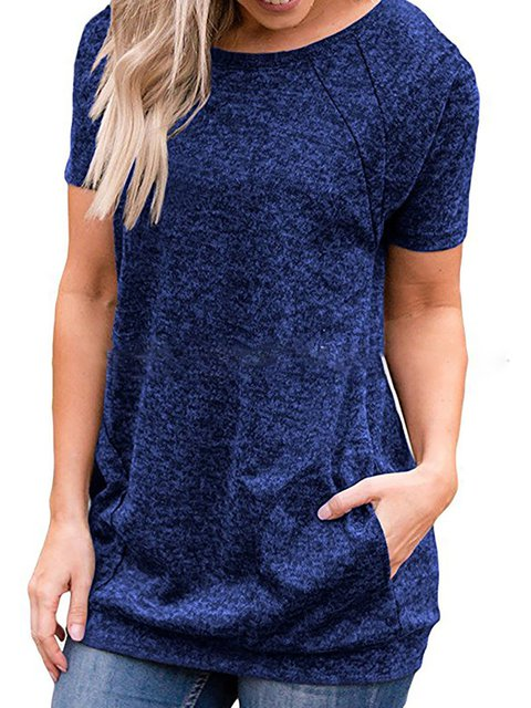Short Sleeve Pockets Casual Solid Crew Neck T-Shirt