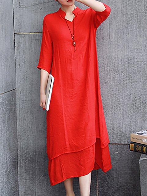 V neck  Women Daily 3/4 Sleeve Basic Paneled Casual Dress