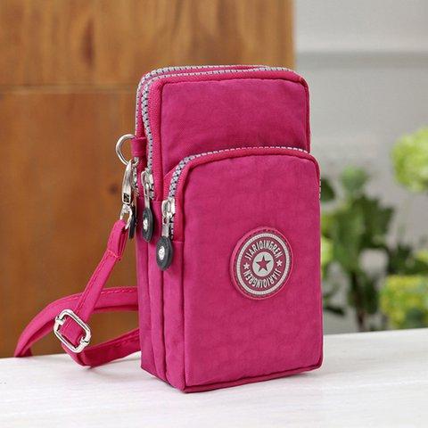 Womens Zipper Casual Canvas Phone Bags Crossbody Bags