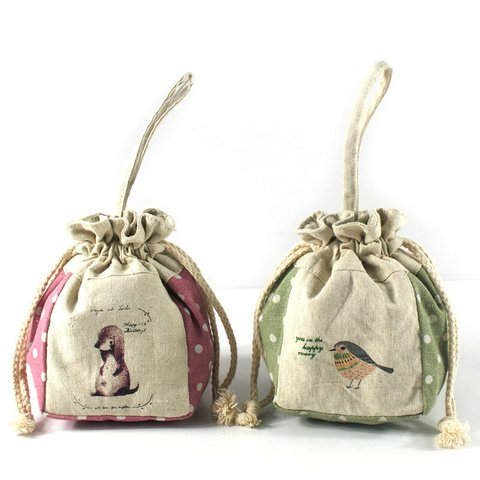 Womens  Cartoon Cute Canvas Drawstring Pocket Money Bags