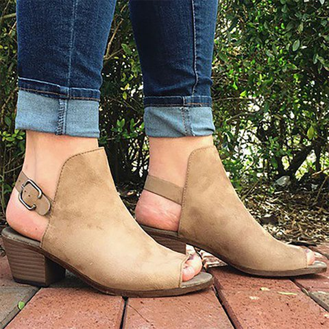 Women Flocking Sandals Plus Size Adjustable Buckle Shoes