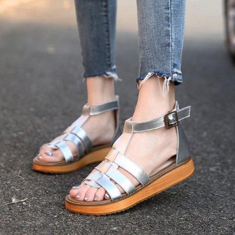 Women PU Plus Size Sandals Casual Comfort Adjustable Buckle Shoes
