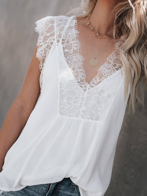 Solid Casual Lace Sleeveless V neck Tanks