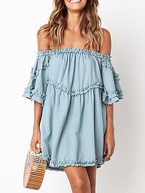 Off Shoulder  Swing Women Daily Short Sleeve Casual  Solid Summer Dress