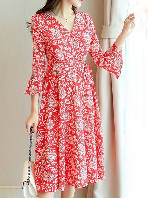 Paneled Dress Daily Elegant 4 Floral 3 Swing Basic neck Women V Sleeve qxT8Z6PHw