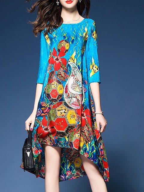 Blue Women Date Half Sleeve Asymmetric Floral Elegant Dress