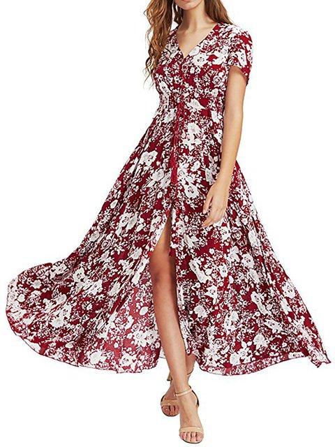 V neck  Swing Women Daily Basic Short Sleeve Paneled Floral Floral Dress
