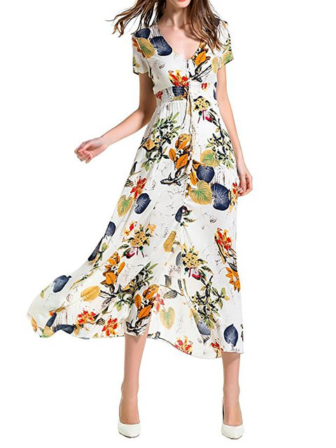 Floral Sleeve V Paneled Daily Floral Dress Women Swing Basic neck Short zY1z6