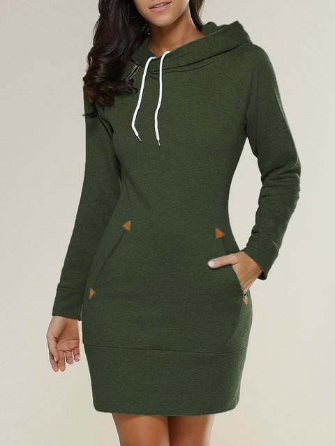 Pockets Casual Long Sleeve Solid Plus Size Hoody
