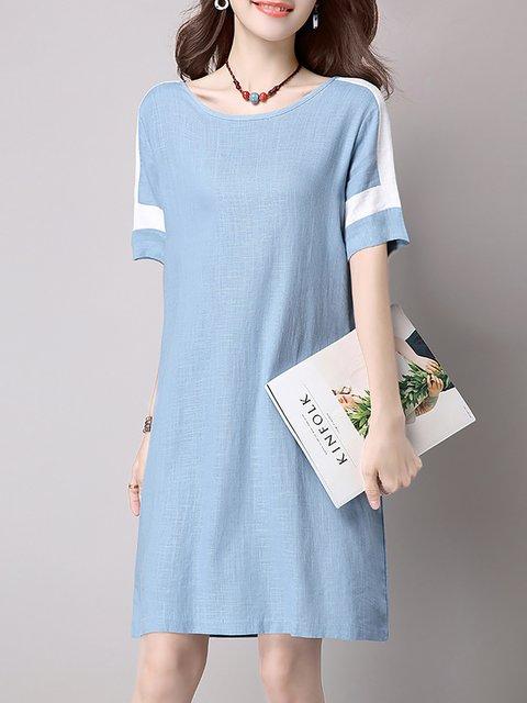 40acbc30f8 JustFashionNow Crew Neck Sky Blue Women Casual Dress A-line Daily ...