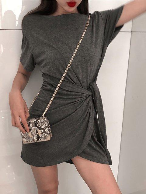 Short Basic Solid Bodycon Daily Dress Summer Women Sleeve AtxqxCE