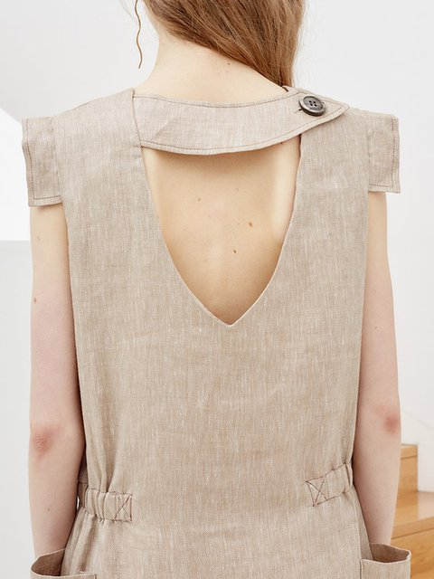 Women Daily Dress Sleeveless Summer Apricot Cotton Solid d15nqwn8p
