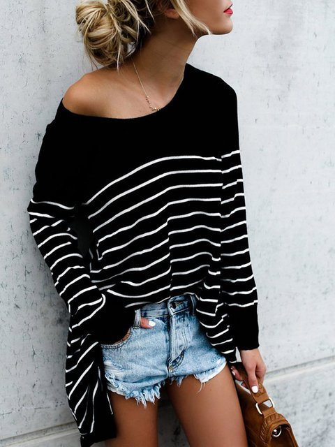 Crew Neck Long Sleeve Striped Casual T-Shirt