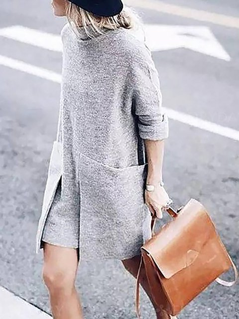 Gray Women Daytime Long Sleeve Knitted Solid Spring Dress
