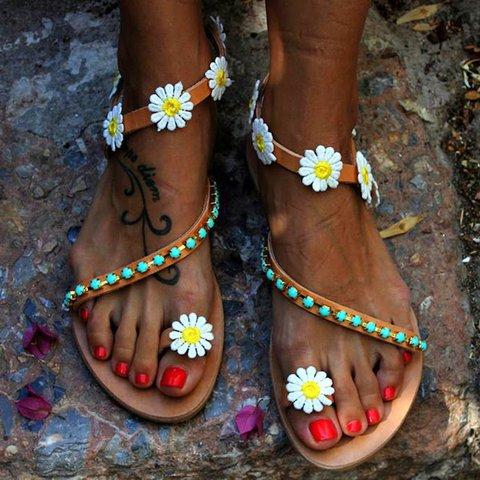 Women Flower Sandals Casual Comfort Plus Size Flip Flop Shoes