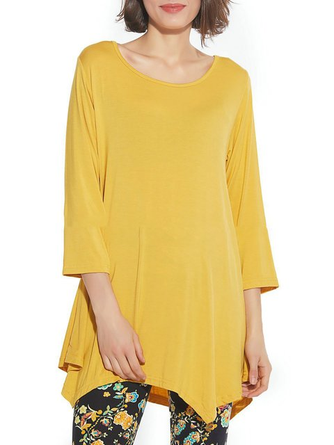 3/4 Sleeve Solid Casual Plus Size T-Shirt