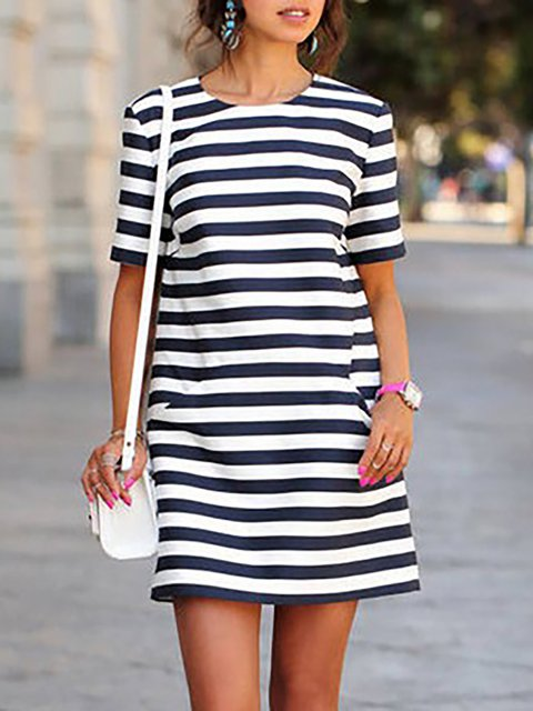 Black-white Shift Women Daytime Casual Short Sleeve Striped Summer Dress