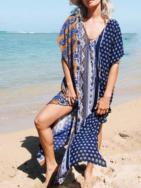 Blue Shift Women Short Sleeve Basic Slit Polka Dots Summer Dress