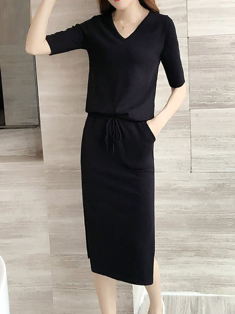 56948a67aa JustFashionNow Plus Size V neck Women Elegant Dress Sheath Daily ...