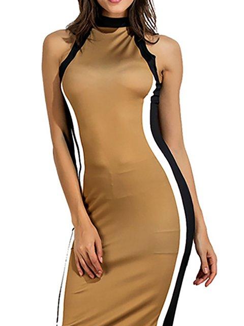 Short Elegant Prom Daily Shift Dress Turtleneck Women Sleeve Khaki xR6wOa