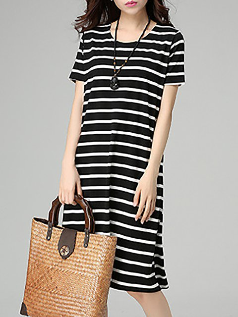 Black-white Shift Women Daily Basic Short Sleeve Paneled Striped Casual Dress