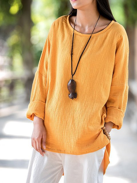 Plus Crew Sleeve Casual Long Size Linen T Solid Neck Shirt qnTaxwq