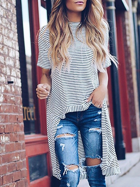 Short Sleeve Crew Neck Striped T-Shirt