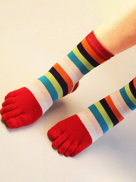 Five Toe Socks Colorful Middle Tube Toe Socks Cotton Breathable Sports Socks
