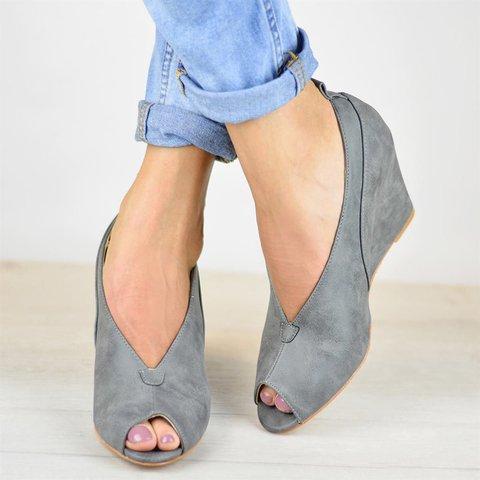 Wedges Plus Size Flocking Wedge High Heel Peep Toe Sandals
