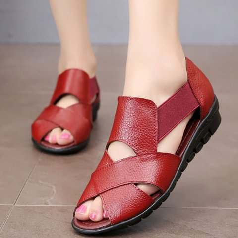 Women PU Sandals Casual Peep Toe Elastic Band Shoes