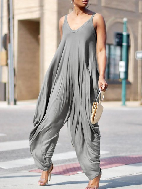 Spaghetti Crew Neck Solid Casual Jumpsuit